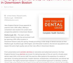 New England Dental Group announces a new office in Downtown Boston, the fifth location for the dental practice.