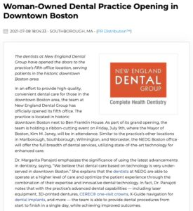New dental office opens in downtown Boston, marking the fifth location of New England Dental Group.